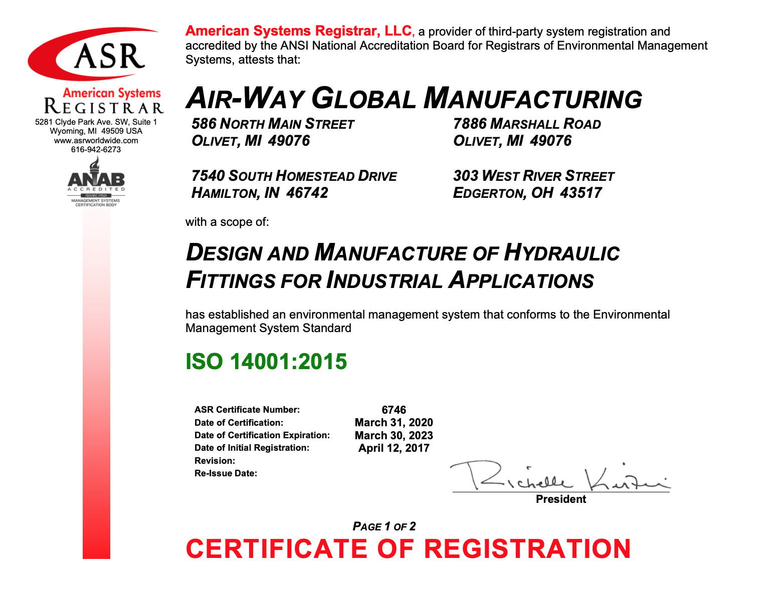Air-Way Manufacturing ISO 14001:2015 Certificate 3-30-23